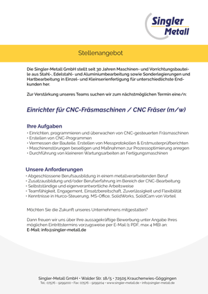Stellenangebot Einrichter für CNC-Fräsmaschine / CNC Fräset (m/w)
